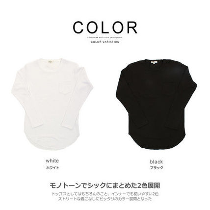 Long Sleeve Crew Neck Pullovers Street Style Long Sleeves Plain Cotton 2