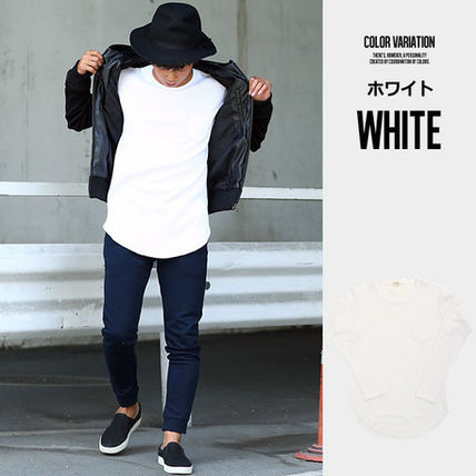 Long Sleeve Crew Neck Pullovers Street Style Long Sleeves Plain Cotton 3