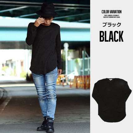 Long Sleeve Crew Neck Pullovers Street Style Long Sleeves Plain Cotton 4
