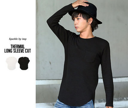 Long Sleeve Crew Neck Pullovers Street Style Long Sleeves Plain Cotton 5