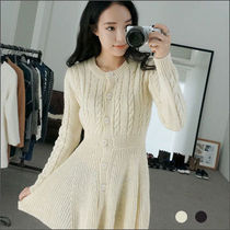 Short Casual Style Flared Long Sleeves Plain Dresses
