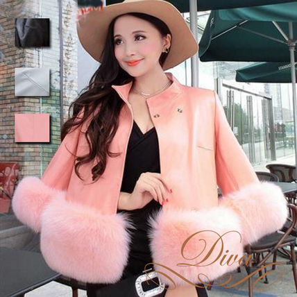 Leather jacket women with fur