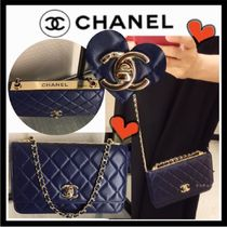 CHANEL CHAIN WALLET Casual Style Lambskin 3WAY Chain Plain Shoulder Bags