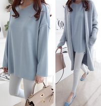 Casual Style Long Sleeves Plain Oversized T-Shirts