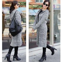 Cable Knit Wool Street Style Long Sleeves Long Elegant Style