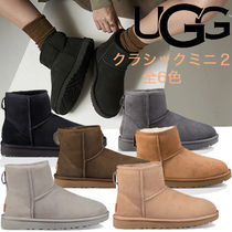 UGG Australia CLASSIC MINI Round Toe Casual Style Fur Plain Wedge Boots