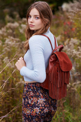 Casual Style Fringes Backpacks