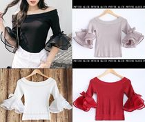 Casual Style Rib Blended Fabrics Plain Lace Puff Sleeves