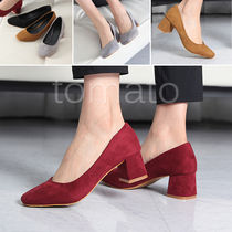 Square Toe 3-5 cm Suede Chunky Heels