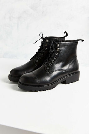 Platform Plain Toe Lace-up Casual Style Street Style Plain