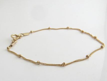 Casual Style Chain 14K Gold Anklets