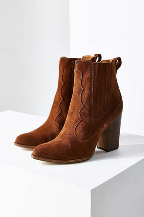 Cowboy Boots Plain Toe Casual Style Suede Street Style Plain