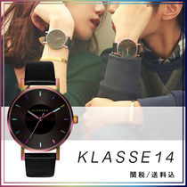 KLASSE14 Leather Round Quartz Watches Elegant Style Analog Watches