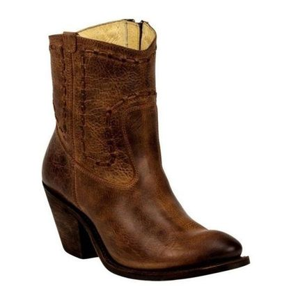 Cowboy Boots Round Toe Leather High Heel Boots