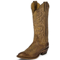 Justin Boots Cowboy Boots Round Toe Casual Style Leather Mid Heel Boots