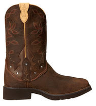 Justin Boots Cowboy Boots Square Toe Casual Style Leather Mid Heel Boots