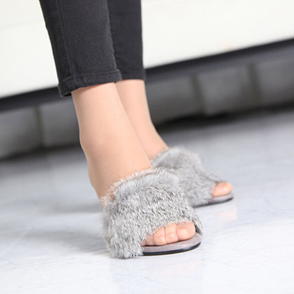 Open Toe Faux Fur Peep Toe Pumps & Mules