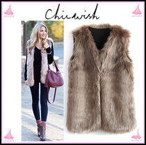 Chicwish Casual Style Plain Medium Fur Vests Outerwear