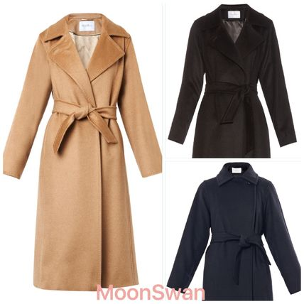 MaxMara MANUELA Wool Plain Long Elegant Style Wrap Coats