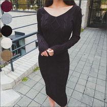 Casual Style Tight Street Style U-Neck Long Sleeves Plain