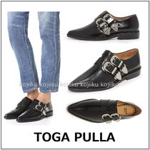 TOGA Plain Leather Block Heels Party Style Loafer Pumps & Mules