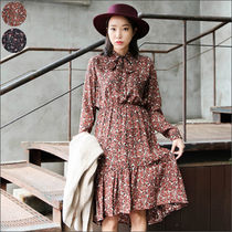 Flower Patterns Street Style Long Sleeves Long Dresses