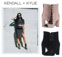 Kendall + Kylie Lace-up Casual Style Suede Plain Chunky Heels Lace-up Boots