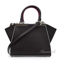 FENDI 3JOURS Mini Handbag / Black With Multicolor Piping