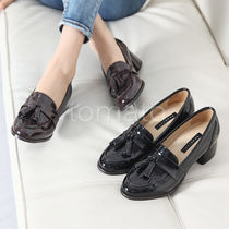 3-5 cm Faux Fur Chunky Heels Loafer Pumps & Mules