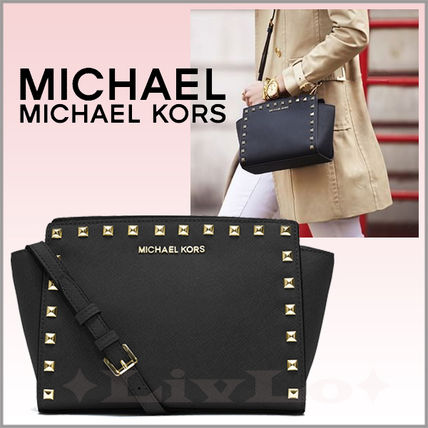 Michael Kors SELMA Casual Style Saffiano Studded 2WAY Plain Shoulder Bags