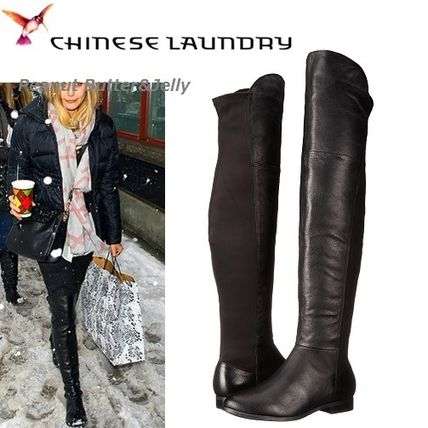 Round Toe Casual Style Plain Leather Over-the-Knee Boots