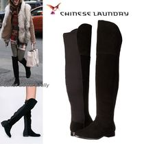 CHINESE LAUNDRY Round Toe Casual Style Suede Plain Over-the-Knee Boots