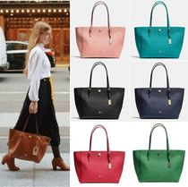 Coach TURNLOCK A4 Plain Leather Office Style Totes