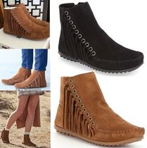 Minnetonka Casual Style Suede Plain Fringes Ankle & Booties Boots