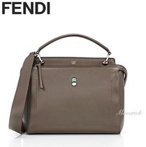FENDI DOTCOM DotCom Handbag / Dark Grey With Mint Pouch