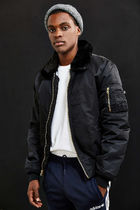 ALPHA INDUSTRIES Short Faux Fur Street Style Plain MA-1 Bomber Jackets