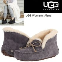 UGG Australia ALENA Moccasin Casual Style Sheepskin Plain Shoes
