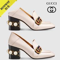 GUCCI Square Toe Plain Leather Chunky Heels Slip-On Shoes
