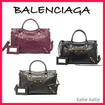 BALENCIAGA CITY Lambskin Giant 12 Gold S Handbag (Black/Grey/Bordeaux)