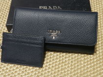 PRADA Unisex Plain Leather Card Holders