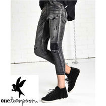 One Teaspoon Casual Style Denim Plain Medium Cropped & Capris Pants