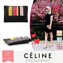 CELINE Stripes Unisex Bag in Bag Leather Office Style Bags