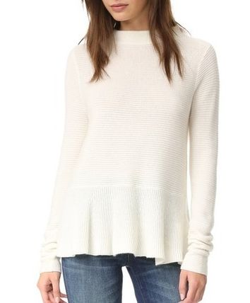 Short Cashmere Plain High-Neck Puff Sleeves Cropped