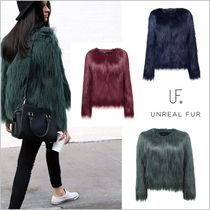 Unreal Fur Short Faux Fur Street Style Plain MA-1 Bomber Jackets
