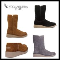 Koolaburra Casual Style Fur Plain Wedge Boots