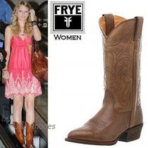 FRYE Cowboy Boots Casual Style Plain Leather Flat Boots