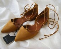 ZARA Lace-up Suede Plain Pointed Toe Shoes