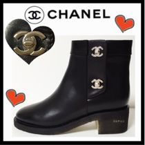 CHANEL ICON Round Toe Casual Style Plain Leather Block Heels Boots Boots