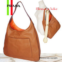 PRADA Brown & Orange Vitello Phenix Leather Tote Bag