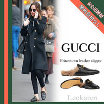 GUCCI Princetown Platform Round Toe Casual Style Blended Fabrics Plain